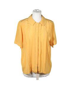 Spiga 31 Vintage Yellow Silk Short Sleeve Shirt Pintuck Blouse Sz 40