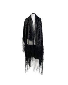 Vintage Black Velvet Look Flamenco Fringed Large Shawl Wrap