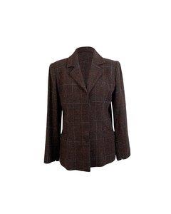 Cocò Vintage Brown Checkered Wool Blend Blazer Jacket Size 42