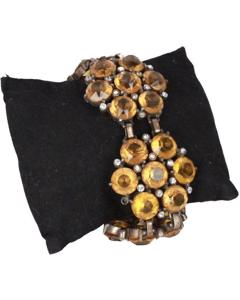 Vintage Yellow Rhinestone Flower Statement Bracelet