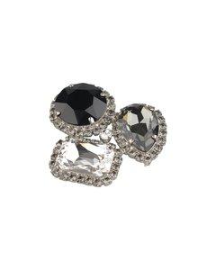 Vintage Silver Crystals Brooch Pin