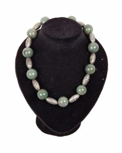Vintage Agate Beads & Indian Silver Ethnic Necklace
