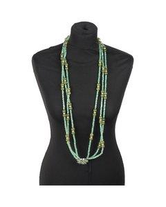 Vintage Aqua Green Crystals Beads 3 Strands Long Necklace Multistrand