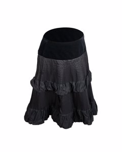 Clips More Black Tiered Taffetà A Line Full Skirt Size M