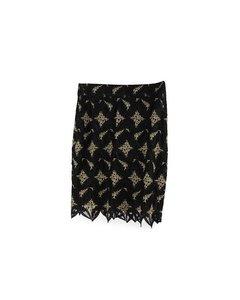 Gai Mattiolo Couture Vintage Black & Golden Macrame Skirt It Size 42