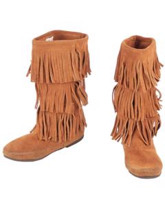 Minnetonka Tan Suede Mocassins Mid Calf Boots Fringed Shoes 8
