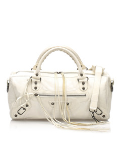 Balenciaga Motocross Twiggy Lambskin Leather Handbag White