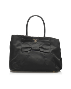 Prada Fiocco Bow Tessuto Tote Bag Black
