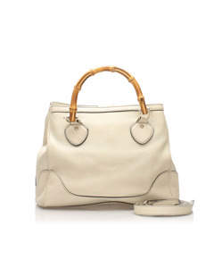 Gucci Bamboo Diana Leather Satchel White