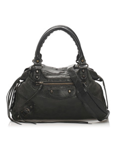 Balenciaga Motocross Classic Town Leather Satchel Black