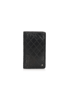 Chanel Surpique Leather Long Wallet Black