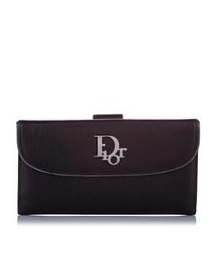 Dior Logo Leather Long Wallet Black