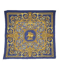 Hermes Les Tuileries Plisse Silk Scarf Blue