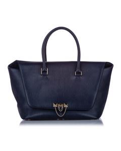 Valentino Large Demilune Leather Satchel Black