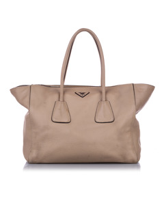 Prada Twin Pocket Leather Satchel Brown