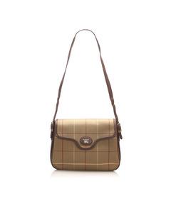 Burberry Plaid Canvas Crossbody Bag Brown