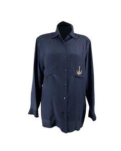 Les Copains Vintage Blue Silk Button Down Shirt Blouse Size M