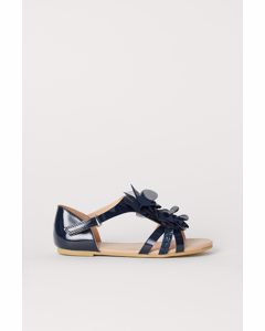 Sandalen mit Tüllrosen Dunkelblau