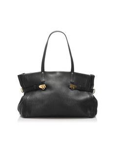 Ferragamo Gancini Leather Tote Bag Black