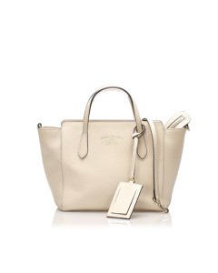 Gucci Swing Leather Satchel White