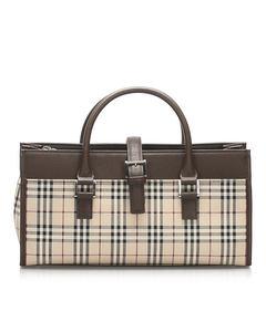 Burberry House Check Canvas Handbag Brown