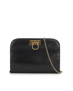 Ferragamo Gancini Leather Crossbody Bag Black