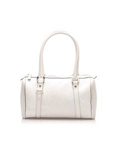 Gucci D-ring Leather Boston Bag White