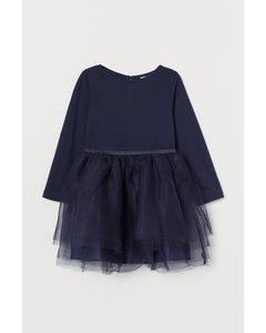 Klänning Med Tyllkjol Marinblå