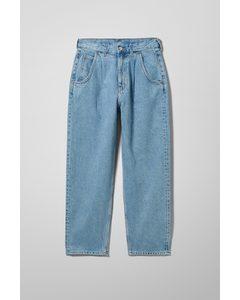 Fold Pleat Jeans Pen Blue
