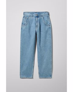 Fold Pleat Jeans Pen Blue