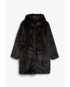 Hooded Faux Fur Coat Black Magic