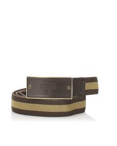 Gucci Web Canvas Belt Brown