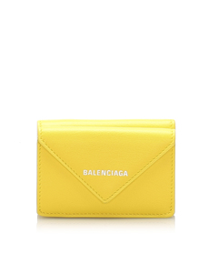 Balenciaga Mini Leather Wallet Yellow