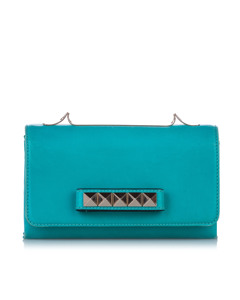 Valentino Rockstud Va Va Voom Leather Shoulder Bag Blue