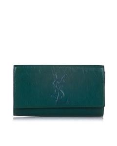 Ysl Belle De Jour Patent Leather Clutch Bag Green