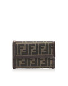 Fendi Zucca Canvas Long Wallet Brown