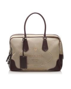 Prada Canapa Canvas Handbag Brown