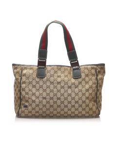 Gucci Gg Canvas Web Tote Bag Brown