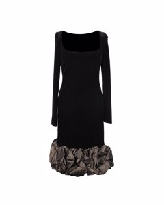 Renato Balestra Vintage Velvet Long Sleeve Dress Ruffled Hem Size S