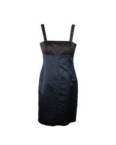 Vera Wang Lavender Label Blue Black Silk Blend Sheath Dress Size 8