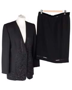 Weill Black Skirt Suit Jacket & Skirt Set W/ Beads