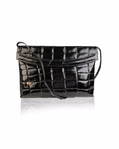 Biki Vintage Black Embossed Leather Clutch Messenger Bag