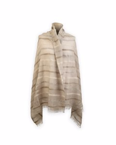 Flanella Grigia Roma Beige Striped Wool And Silk Large Scarf