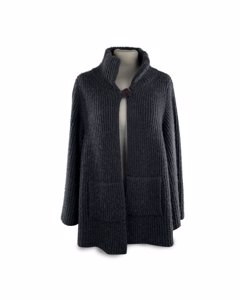Nobili Milano Nobili Gray Ribbed Cashmere And Cotton Knit Jacket Cardigan