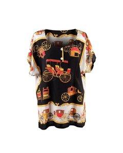 Fashion Vintage Scarf Print Cap Sleeve Blouse Shirt Top Size M