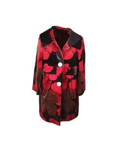 Per Non Dormire Red And Black Floral Pattern Velvet Coat Size 40 It