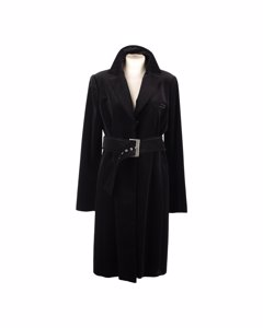 Laltramoda Black Cotton Coat Mod: Belted Coat