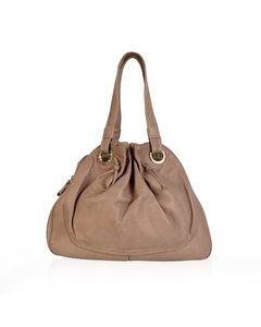 Bulgari Bvlgari Beige Leather Tote Bag With Drawstring Detail
