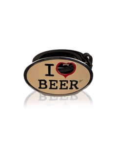 Dsquared2 Black Leather I Love Beer Buckle Waist Belt Size M