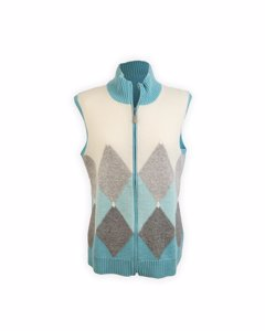 De Carlis Roma Vintage Light Blue Cashmere Zip Vest Sleeveless Size 48